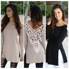 Sexy Women Casual Back Hollow Lace Elegant Casual Long Sleeve Top Blouse Shirt