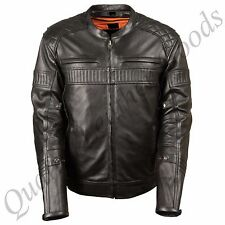 MEN GENUINE LEATHER JACKET BIKER BLUF ROCK PUNK FRONT ZIP DIAMOND QUILTED HARLEY