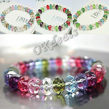 Fashion Women Crystal Faceted Loose Beads Bracelets Stretch Bangle Gift Jewelry