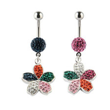 14G Swarovski Elements Crystal Flower Charm Dangle Navel Belly Button Ring