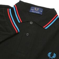 NEW MEN'S 1FRED 1PERRY TWIN TIPPED BLACK BLUE RED POLO SHIRT SIZE M L XL