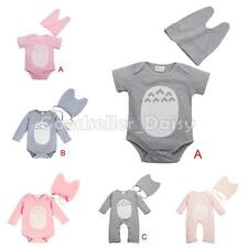 2PCS Totoro Baby Girl Boy Infant Clothes Romper+Hat Set Bodysuit Jumpsuit Outfit