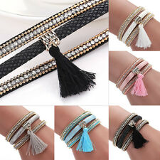 Crystal Tassel Bracelet Leather Braid Wrap Wristband Cuff Magnetic Clasp Bangle