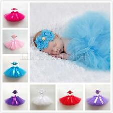 Newborn Toddler Baby Girl Tutu Tulle Skirt Headband Photo Prop Costume Outfits