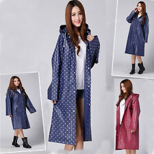 Womens Portable Polka Dot Poncho Hooded Long Raincoat Waterproof Travel Rainwear