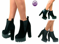 Ladies Womens High Block Heel Cleated Platform Low Ankle Chelsea Boots Size