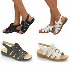 Ladies Gladiator Sandals Womens Low Comfort Slingback Strappy Wedge Shoes Size