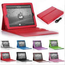 For Apple iPad 2/3/4 Bluetooth Wireless Keyboard With Stand Leather Case Cover U
