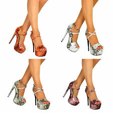 Womens Ladies High Stiletto Heels Peep Toe Party Evening Shoes Sandals Size 3-7