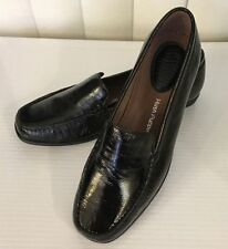 Hush Puppies TIRANA Black Black Patent Brown Leather Loafers Moccasins WIDE W EW