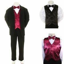 New Boy Kid Formal Wedding Party Black Suit Tuxedo + Burgundy Vest Bow Tie 5-7