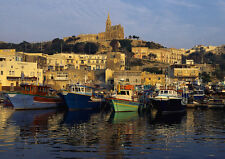 Art print POSTER Boats Moored on Gozo