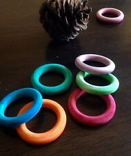 5 x Coloured Wood Rings Beads 34mm - Pet Rabbit Guinea Pig Bird Chew Toy Parts