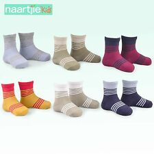 Naartjie Boys Cotton Sports Crew Socks Stripes Color Block 6 Pairs Pack, NWT