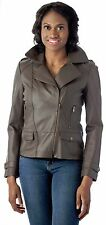 Reed Womens Rugged Distressed Brown Leather Jacket Vintage Style Brand New wTags