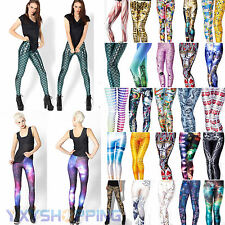 Ladies Womens 3D Printed Skinny Punk Pant Stretchy Fitness Long Trouser Leggings