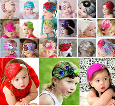 Lot mix Baby Feather Pad headband Bow flower hair band FASCINATOR Accessorie