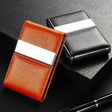 Quality PU Leather Embossed Card Case Metal Business Card Holder Double Open