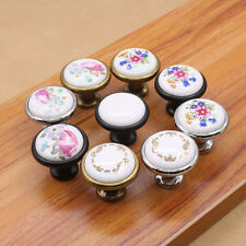 Vintage Chinoiserie Floral Drawer Knobs Kitchen Pull Handles Cabinet Cupboard
