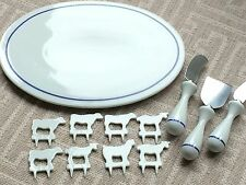 RedEnvelope French Porcelain Cheese Markers, Knives, Serving Platter Blue White