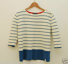 Joules jumper size 10 Marty blue white striped stripes Breton buttons Knitwear
