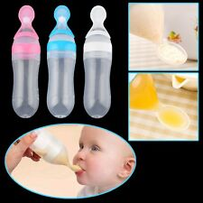 Baby Silicone Squeeze Feeding Bottle With Spoon Food Rice Cereal Feeder 90ML FG