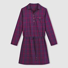 R Edition Womens Long-Sleeved Checked Shirt Dress
