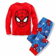Spiderman Baby Kids Boys Girls Long Sleeve Sleepwear Pajamas Set Size 2t-7