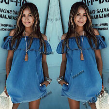 UK Womens One Shoulder Denim Jean Dress Ladies Party Evening Mini Dress Size6-14