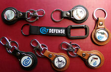 NEW CUSTOM COLT LEATHER  KEY RINGS, WITH OR WITHOUT BELT CLIPS: + FREE STICKER