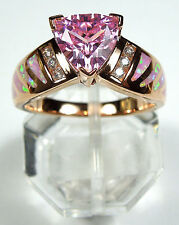 Rose Gold Plated Pink Topaz & Fire Opal Inlay 925 Sterling silver Ring 6