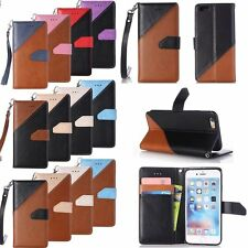 Dual Color Leather Wallet Card Strap Kickstand Case Cover For iPhone/iPod Touch