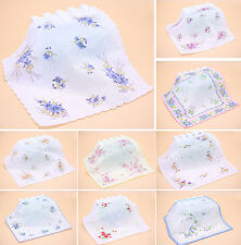 Women Ladies Cotton Floral Vintage Lot Handkerchiefs Quadrate Hankies
