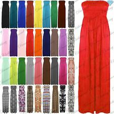 Womens Strapless Ladies Sheering Boobtube Bandeau Long Plus Size Maxi Dress