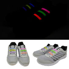 12pcs Elastic No Tie Shoe Laces Luminous Silicone Shoelaces for Running Sneakers