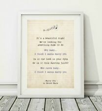 209 Bruno Mars - Marry You - Song Lyric Art Poster Print - Sizes A4 A3