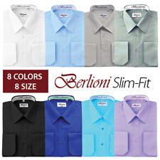 Berlioni Italy Men's Slim-fit Convertible Cuff Solid Italian French Dress Shirt