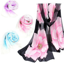 Fashion Women Flower Scarf Wrap Summer Shawl Chiffon Neck Circle Voile Scarves