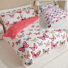Butterfly Duvet Cover Set & Pillowcase Bed Quilt Reversible Single Double King