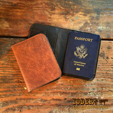 Handmade Amish Leather Passport Holder Wallet comes in Brown or Black Cowhide