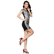 Latin Dance Geometric Dress Ballroom Sequins Skirt Standard Prom Wear