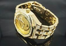 """NEW"" TECHNO PAVE MEN'S 14K GOLD  PLATED LUXURY ICED OUT GOLD FACE DRESSY WATCH"