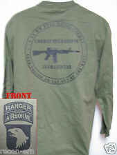 101 AIRBORNE RANGER LONG SLEEVE T-SHIRT/ AFGHANISTAN COMBAT OPS/ MILITARY/ NEW