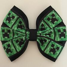 Gamer girl theme printed grosgrain ribbon hair bow
