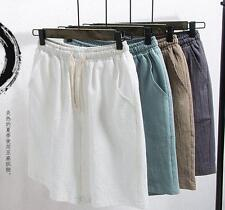 Mens summer loose linen blend breathable shorts casual pants plus size