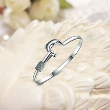 Flower Dolphin 925 Sterling Silver Hand Chain Cuff Bracelet Wedding Bangle