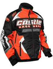 Castle Mens Flo Orange/Black/White Bolt G3 Snowmobile Jacket Snow Snowcross
