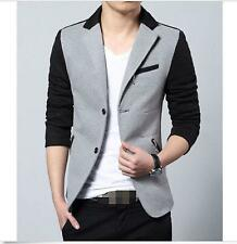 Mens Color Splice Lapel Collar Short Jacket Slim Fit Korean Casual Dress Coat Sz