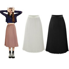 Fashion Women's Chiffon Pleated Long Maxi Dress A-Line Elastic Waist Midi Skirt