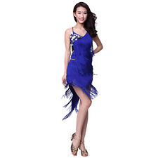 Ballroom Dress Circle Sequins+Tassels Latin Dance Skirt Standard Prom Wear